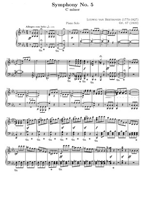 1st movement of Betthoven's 5th piano sheet music